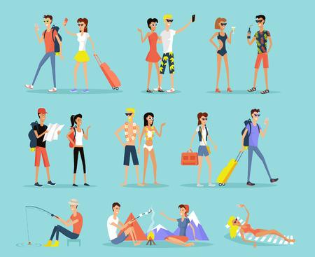 Ludzie wakacje zestaw mężczyzna i kobieta płaski styl projektowania. Ludzie na wakacjach para mężczyzna i kobieta. Opalając się na leżaku, siedząc przy ognisku, wędkarstwo i wycieczki górskie. ilustracji wektorowych