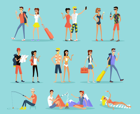 resort: People vacation set man and woman flat design style. People on vacation couple man and woman. Sunbathing on a lounger, sitting around a campfire, fishing and mountain walks. Vector illustration