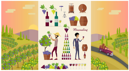 Winemaking design concept and icon set. Grape for wine, drink alcohol glass bottle for winemaking, winery beverage barrel, viticulture production and preparation, vector illustration