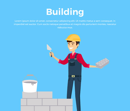 worker working: Building banner web design flat style. Working in a helmet with a shovel. Construction and builder holding brick and trowel. Man worker is standing near the unfinished brick walls vector illustration