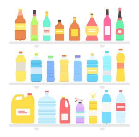 botella de whisky: Botella de aceite ajustado dise�o plano y bebidas. Botella y botella de agua, botella de pl�stico, botella de vino, botella de cerveza, botellas de vidrio, botellas de bebidas, botellas de aceite, botella de la bebida, botella de whisky ilustraci�n
