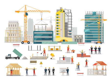 edificio: Proceso de construcción de viviendas aisladas. zona de dormitorio edificio grande. Iconos de maquinaria de construcción, trabajadores de la construcción y los ingenieros de diseño de estilo plano. ilustración vectorial