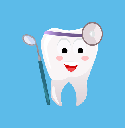 stomatological: Concept of Dentistry Banner Poster. Cartoon tooth with dental instruments for happy smile design flat style. Medicine stomatology placard with space for text vector illustration