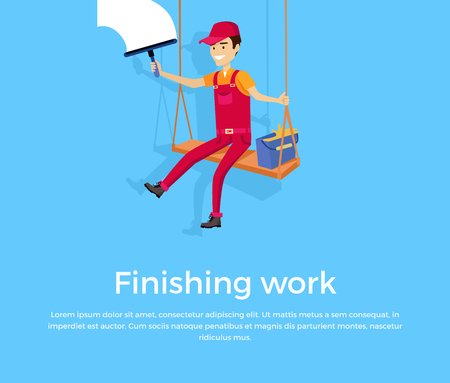 finished: Finishing work design banner concept flat style. Construction finished work climber isolated on a blue background. Renovation and repair finish, job success done building, vector illustration Illustration