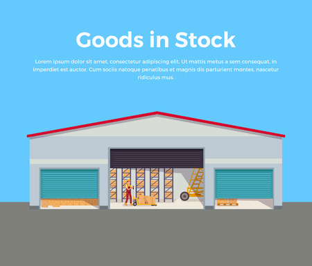 storehouse: Goods in stock banner design flat. Warehouse stock with a pile of cardboard boxes and package boxes. Delivery and shipping cargo, logistic to storehouse, merchandise box, vector illustration
