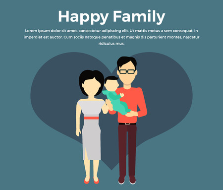 newborn baby mother: Happy family concept banner design flat style. Young family man and a woman with a newborn baby. Mother and father with child happiness lifestyle, vector illustration
