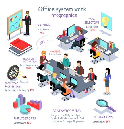아이소 메트릭 오피스 시스템 작업 인포 그래픽. 3D 사무실 인테리어, 사무실 책상, 비즈니스 및 사무실 사람들, 사무실 룸, 분석 데이터, 브레인 스토밍 일러스트
