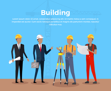construction management: Building banner concept design. Group of people at the construction site architect and investor engineer and working man. Business construction management poster web flat style. Vector illustration
