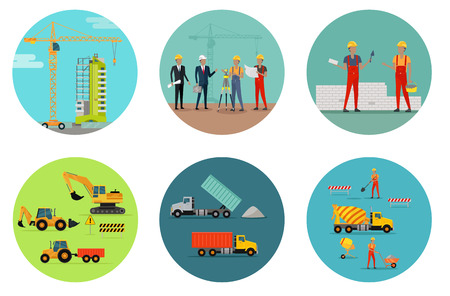 residential houses: Process of construction of residential houses isolated. Big building dormitory area. Icons of construction machinery, construction workers and engineers design flat style. Vector illustration