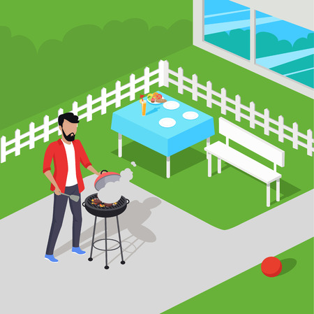 preparing food: Father preparing barbecue design flat. Dad prepares a barbecue. Vector illustration Illustration