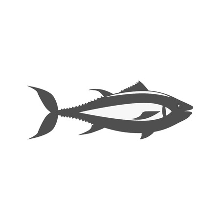 fish animal: Fish icon design flat isolated. Fish sea animal or food, wildlife aquatic and nature ocean river fish, seafood life swimming with tail and fin, fauna marine style exotic, vector illustration Illustration
