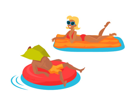 woman floating: Happy family bathing in the sea. Man lies on an inflatable circle. Woman floating on a mattress in the sea. Happiness, holiday and cheerful swimming people, vector illustration