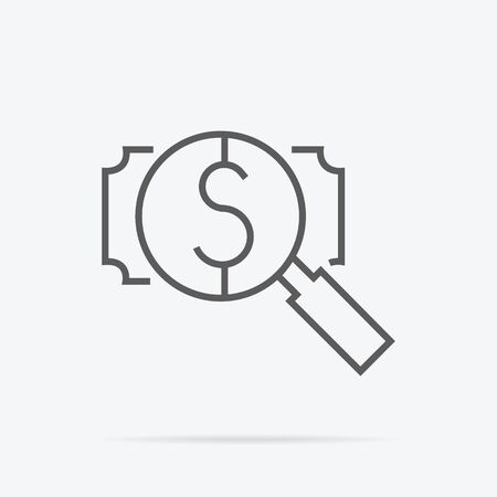 Magnifying glass for zooming dollar symbol icon. Search for investors concept. Vector illustration