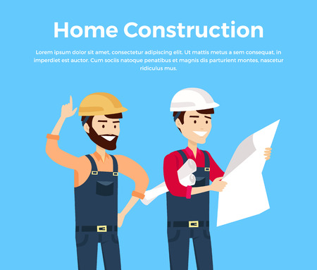 superintendent: Home construction design banner conceptual flat style. Worker in helmet with the superintendent or architect or engineer looking at a sheet of paper with a project drawings. Vector illustration
