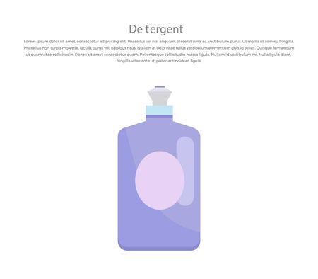 disinfect: Plastic bottle for liquid laundry detergent or cleaning agent or bleach or fabric softener. Domestic and bottle, equipment clean, housework and housekeeping. Vector illustration.