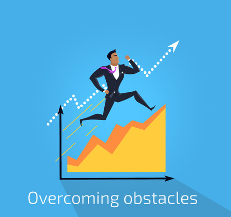 obstacles: Overcoming obstacles banner design flat concept. Successful young businessman climbing up the schedule chart overcoming obstacles. Conceptual poster business development. Vector illustration Stock Photo