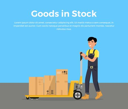 work crate: Goods in stock banner design flat. Warehouse stock with a pile of cardboard boxes and package boxes. Delivery and shipping cargo, logistic to storehouse, merchandise box, vector illustration
