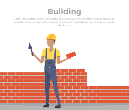 unfinished: Building banner web design flat style. Working in a helmet with a shovel. Construction and builder holding brick and trowel. Man worker is standing near the unfinished brick walls vector illustration