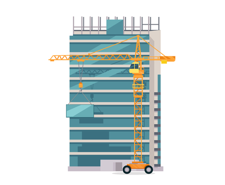 construction draftsman: Building process. Success engineer. Building process flow, construction process, engineering technology, construction building, business building, work process vector illustration