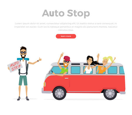people traveling: Group of young people traveling in vintage bus. Autostop concept isolated on white background. Camper van. Man with a sign stands and catches passing transport. Vector illustration