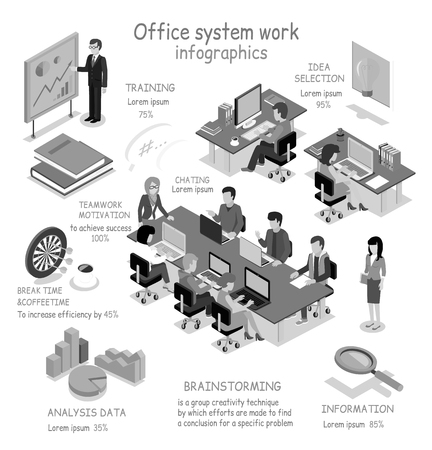 Isometrischen Office-System arbeiten Infografik. 3D Büro inter, Schreibtisch, Geschäfts- und Büroleute, Büroraum, Analysedaten, Brainstorming Teamarbeit und Ausbildung, Auswahl Idee 3D, Pausenzeit