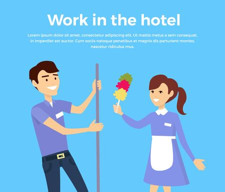 hotel staff: Work in hotel banner design flat style. Happy male and female members of the service staff at the hotel. Work service cleaner and maid, cleaning business and worker occupation. Vector illustration