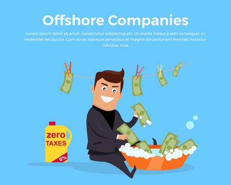 levied: Offshore companies, panamanian documents, jornalistic inestigation. Panama papers folder document. Tax haven offshore company business people owners. Taxes are levied at low rate. Vector illustration
