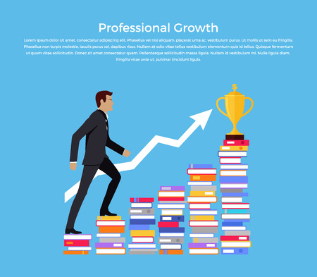 profesional: Profesional growth banner design flat. Young successful businessman podnimaetsya on the stairs of the books to the goal of financial golden goblet. Success development work.  Vector illustration