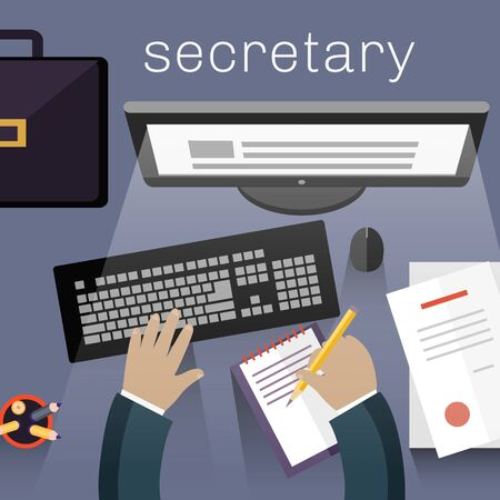 secretary office: Secretary work view top flat design. Secretary office business, view work top, desk with document workspace or workplace, table with paper and computer, worker businessman, vector illustration