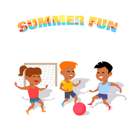 Children play with a ball. Summer fun. Boys and girl playing with a ball in soccer summer. Happy sport kid and activity together play in soccer, running and playing football. Vector illustration