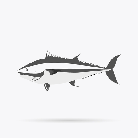 tail fin: Fish icon design flat isolated. Fish sea animal or food, wildlife aquatic and nature ocean river fish, seafood life swimming with tail and fin, fauna marine style exotic, vector illustration Illustration