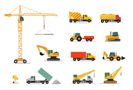 heavy construction: Construction machinery set design flat style isolated on white background. Tall crane lifts the concrete slab or releases. Heavy machine concrete mixer, loader and crawler crane. Vector illustration Illustration