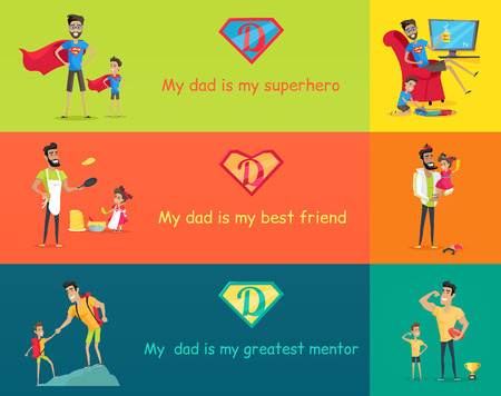 dad and son: Dads day. Super dad with his kids. My dad is my superhero best friend and greatest mentor. Father playing with son and daughter. Vector illustration