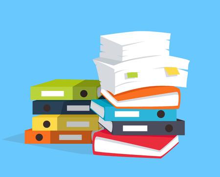 Stapel documenten op een blauwe achtergrond, plat en slagschaduw thema. vector illustratie