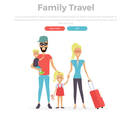 family trip: Happy family trip traveling. Parents with their children going for vacations. Concept in flat design. Travel, family vacation, family, family airport, family holiday, family trip