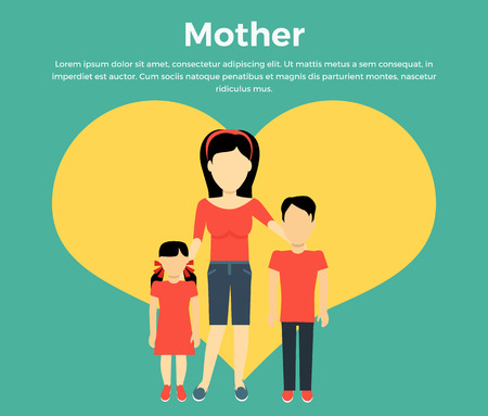 parenting: Mother with children banner concept. Mum holding hand of his daughter and son. Family and parent, girl and boy with mum, happiness together love parenting brother and sister, vector illustration