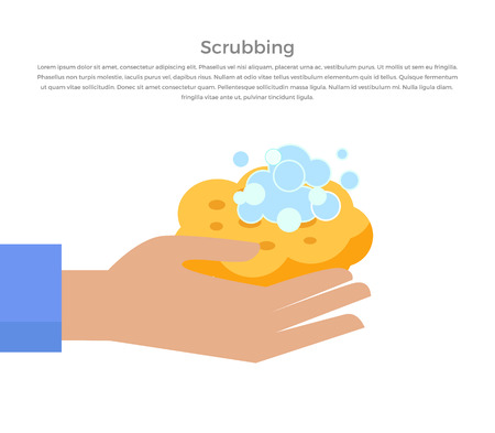 Scrubbing hand with soap and wisp design banner. Hand washing instructions and hygiene clea with soap and care, hand washing water scrubbing web page banner poster with text. Vector illustration