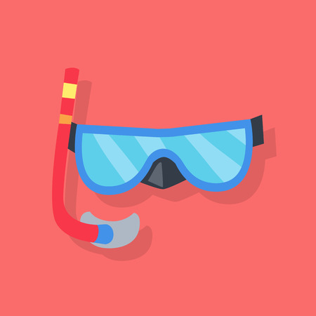 red tube: Blue mask and red tube for diving with snorkel isolated on red background. Vector illustration Vectores