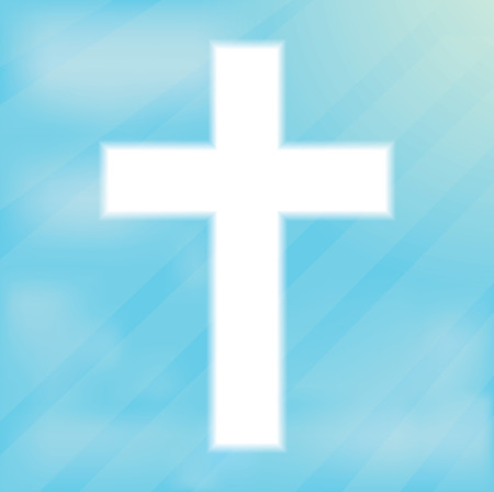 catholicism: Sign of the cross, Christianity. Glowing white cream on a blue background. Religious symbol of Christianity. Crucifix and belief, catholicism and holy spirituality light shape, vector illustration