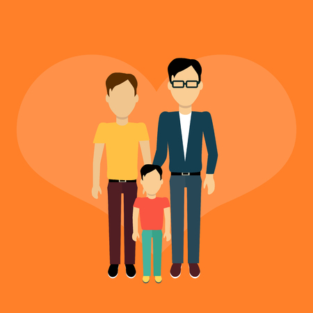 homosexual: Happy family homosexual concept banner design flat style. Young family man gay with a son. Mother and father with child happiness lifestyle, vector illustration