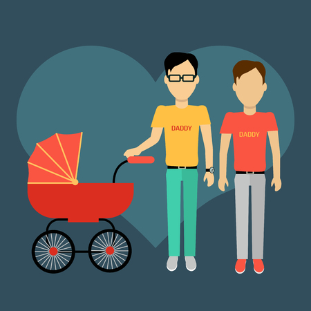 fatherhood: Father gay with a baby carriage banner design flat. Parents homosexual walking with baby in baby carriage. Daddy young happy with toddler, male and fatherhood, love and happiness, vector illustration