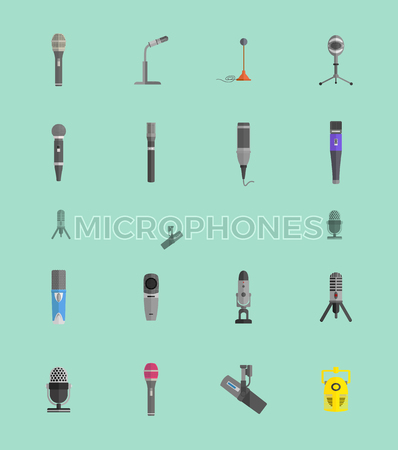 talk show: Microphone set design flat isolated icon, vintage microphone stand, sound media, record vocal musical web broadcasting microphone vector illustration