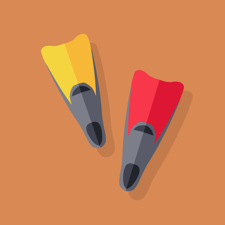 pool diving: Yellow and red flippers for diving. Vector illustration