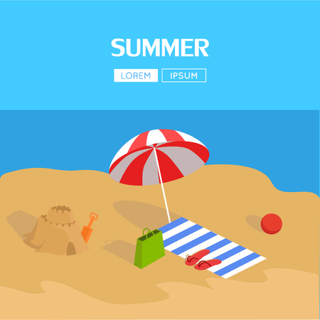 sun beach: Beach and tropical sea. Active rest at sea with umbrellas. Family beach vacation, beach chair. Parasol over the sun lounger next to the sand castle. Vector illustration