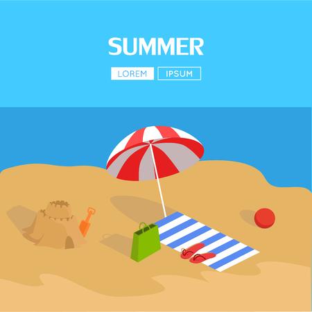 vacaciones en la playa: La playa y el mar tropical. El descanso activo en el mar con sombrillas. Familia vacaciones en la playa, silla de playa. Sombrilla sobre la tumbona al lado del castillo de arena. ilustración vectorial Vectores