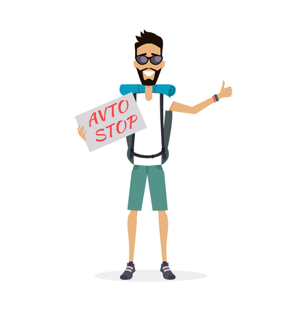 tourists: Smiling hitch-hiking traveller man personage vector illustration in flat design. Solo travelling with backpack concept. Low cost country trip on passing cars. Budget travel around the world. Auto stop