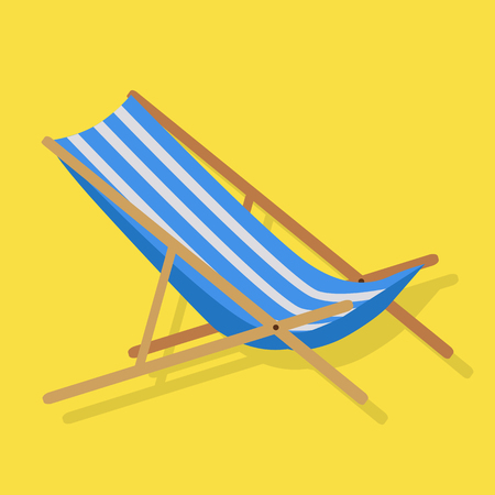 deckchair: Flat design simple blue white stripes summer beach sunbed lounger chair wood isolated on yellow. Vector illustration Illustration