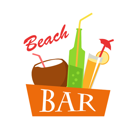 cold drinks: Beach bar vector flat illustration. Cold drinks for summer vacations set. Juice, coconut milk, cocktail, soda, isolated on white background. Refreshing coolness concept design.