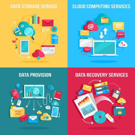 provision: Set of concept flat designs illustrations for data storage, cloud computing, data provision, data recovery services. Numerous colored web icons, business stuff, computer parts, infographic elements.