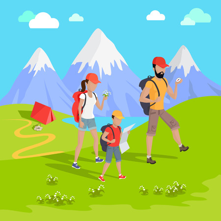 family trip: Man traveler with backpack hiking equipment walking in mountains. Mountain tourism concept in cartoon design style. Family trip to the mountains Vector illustration Illustration
